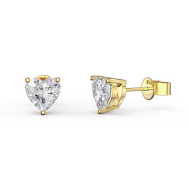 Charmisma 1ct White Sapphire Heart 18K Gold Vermeil Stud Earrings