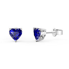 Charmisma 1ct Blue Sapphire Heart Platinum Plated Silver Stud Earrings