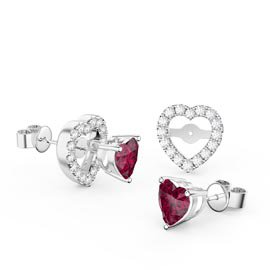 Charmisma Heart Garnet and Moissanite 18K White Gold Stud Earrings Halo Jacket Set