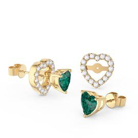 Charmisma Heart Emerald  and White Sapphire 10K Yellow Gold Stud Earrings Halo Jacket Set