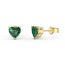 Charmisma 1ct Emerald Heart 18K Gold Vermeil Stud Earrings