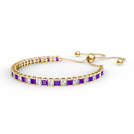 Princess Amethyst CZ 18K Gold plated Silver Fiji Friendship Tennis Bracelet