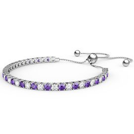 Eternity Amethyst CZ Rhodium plated Silver Fiji Friendship Tennis Bracelet