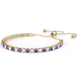 Eternity Amethyst CZ 18K Gold plated Silver Fiji Friendship Tennis Bracelet