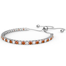 Eternity Garnet CZ Rhodium plated Silver Fiji Friendship Tennis Bracelet