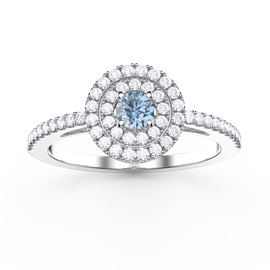 Fusion Aquamarine Halo 18ct White Gold Ring