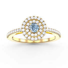 Fusion Aquamarine Halo 18ct Yellow Gold Ring