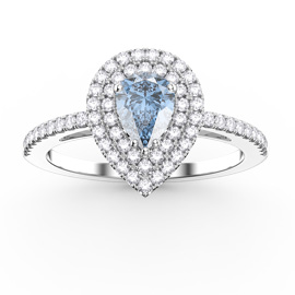 Fusion Aquamarine and Diamond Pear Halo Platinum Ring