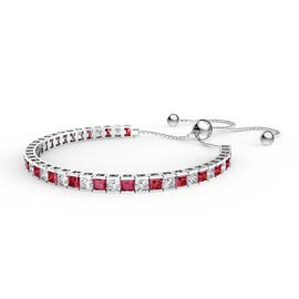 Princess Garnet Diamond CZ Rhodium plated Silver Fiji Friendship Tennis Bracelet