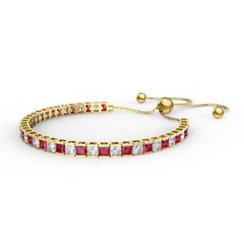 Princess Garnet Diamond CZ 18K Gold plated Silver Fiji Friendship Tennis Bracelet