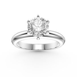 Unity 1ct White Sapphire Classic Solitaire 18ct White Gold Engagement Ring