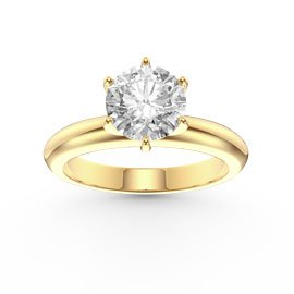 Unity 1ct White Sapphire Classic Solitaire 18ct Yellow Gold Engagement Ring