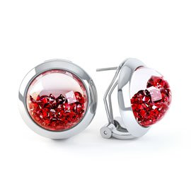 Sapphire Dome 2ct Ruby 18ct White Gold Earrings