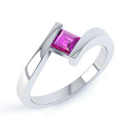 Combinations Pink Sapphire 18ct White Gold Square Stacking Ring