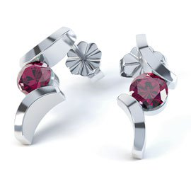 Combinations Ruby Round Rhodium plated Silver Earrings
