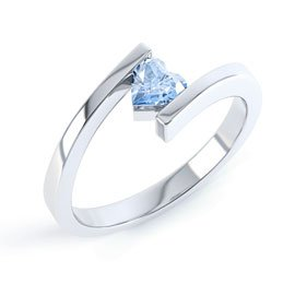 Aquamarine Heart 18ct White Gold Stackable Ring