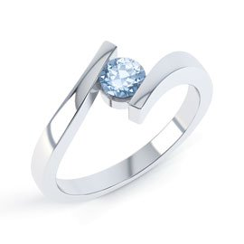 Aquamarine Round 18ct White Gold Stackable Ring