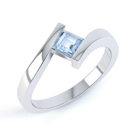 Aquamarine Square 18ct White Gold Stackable Ring