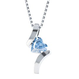 Combinations Aquamarine Heart Silver Pendant