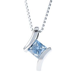 Combinations Aquamarine Square Silver Pendant