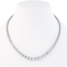 Eternity Diamond CZ Rhodium plated Silver Tennis Necklace