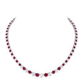 Eternity Ruby Platinum plated Silver Tennis Necklace