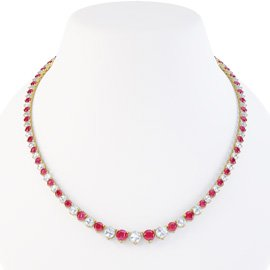 Ruby and Diamond 18ct Yellow Gold Eternity Tennis Necklace