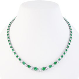 Eternity Emerald CZ Rhodium plated Silver Tennis Necklace