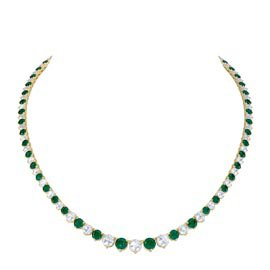 Emerald and Diamond 18K Yellow Gold Eternity Tennis Necklace