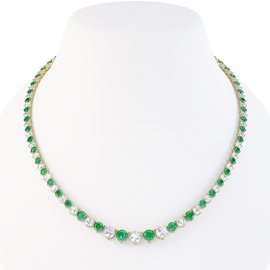 Emerald and Diamond 18ct Yellow Gold Eternity Tennis Necklace