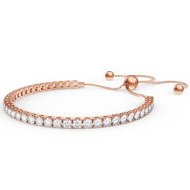 Eternity Diamond CZ 18K Rose Gold plated Silver Fiji Friendship Tennis Bracelet