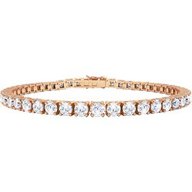 Eternity White Sapphire 18K Rose Gold Tennis Bracelet