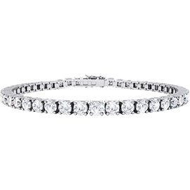 Eternity White Sapphire Platinum plated Silver Tennis Bracelet