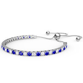 Eternity Sapphire CZ Rhodium plated Silver Fiji Friendship Tennis Bracelet