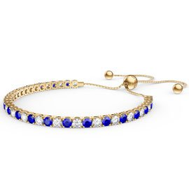 Eternity Sapphire CZ 18K Gold plated Silver Fiji Friendship Tennis Bracelet