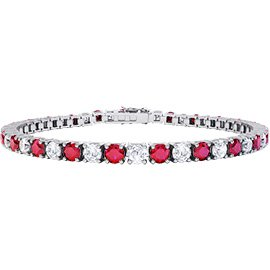 Eternity Ruby and Diamond 2.6ct GH SI 18ct White Gold Tennis Bracelet