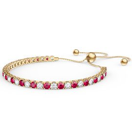 Eternity Ruby CZ 18K Gold plated Silver Fiji Friendship Tennis Bracelet