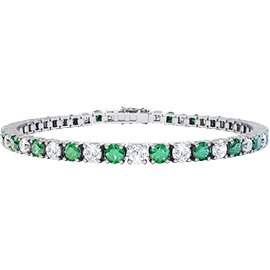 Eternity Emerald and Diamond 2.6ct GH SI 18K White Gold Tennis Bracelet