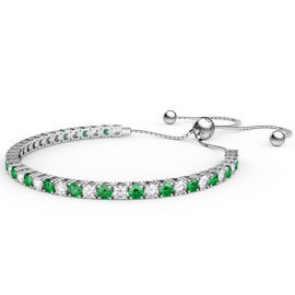 Eternity Emerald Platinum plated Silver Fiji Friendship Tennis Bracelet