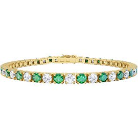 Eternity Emerald and Diamond 2.6ct GH SI 18ct Yellow Gold Tennis Bracelet