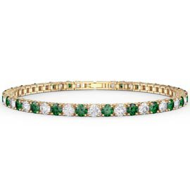 Eternity Emerald CZ 18K Gold plated Silver Tennis Bracelet