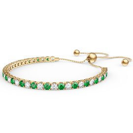 Eternity Emerald CZ 18K Gold plated Silver Fiji Friendship Tennis Bracelet