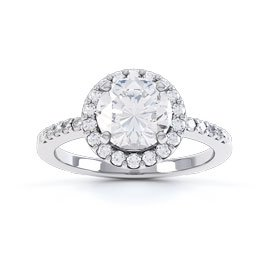Eternity 1ct Moissanite Halo 18K White Gold Engagement Ring