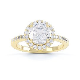 Eternity 1ct White Sapphire Halo 18ct Gold Vermeil Promise Ring
