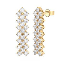 Eternity Three Row Diamond CZ 18K Gold plated Silver Drop Earrings