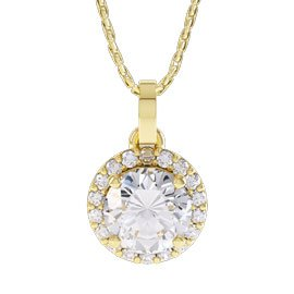 Eternity 1ct White Sapphire 18ct Yellow Gold Halo Pendant