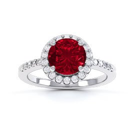Eternity 1ct Ruby Halo Platinum plated Silver Promise Ring