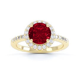 Eternity 1ct Ruby Halo 18ct Yellow Gold Engagement Ring
