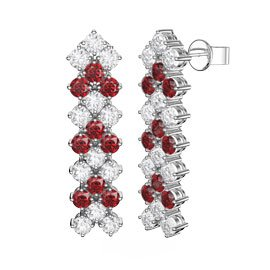 Eternity Three Row Ruby Platinum finished Silver Drop Earrings