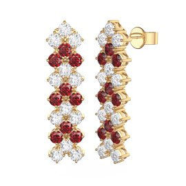 Eternity Three Row Ruby and Diamond CZ 18K Gold plated Silver Drop Earrings